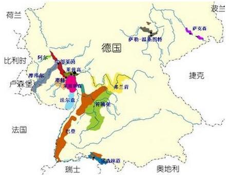 德国葡萄产区地图